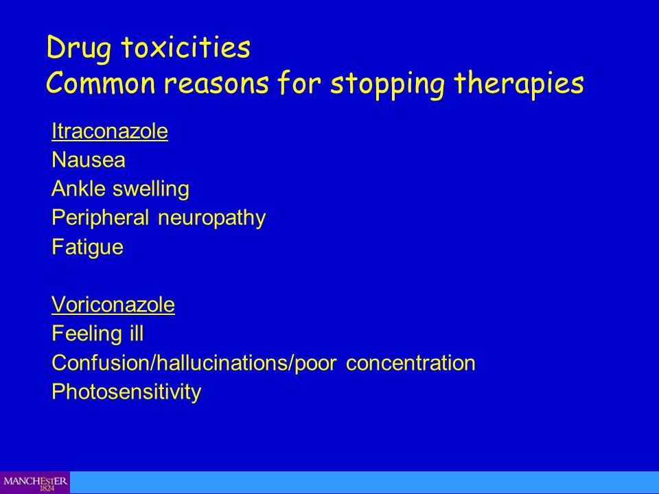 Itraconazole Nausea Ankle swelling Peripheral neuropathy Fatigue Voriconazole Feeling ill Confusion/hallucinations/poor concentration Photosensitivity