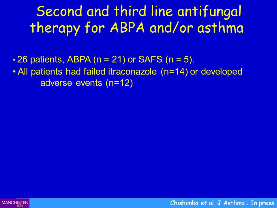 Chishimba et al, J Asthma. In press Second and third line antifungal therapy for ABPA and/or asthma 26 patients, ABPA (n = 21) or SAFS (n = 5). All pa