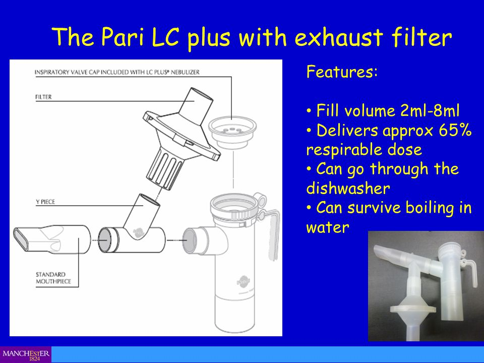 The Pari LC plus with exhaust filter Nebuliser chamber Features: Fill volume 2ml-8ml Delivers approx 65% respirable dose Can go through the dishwasher