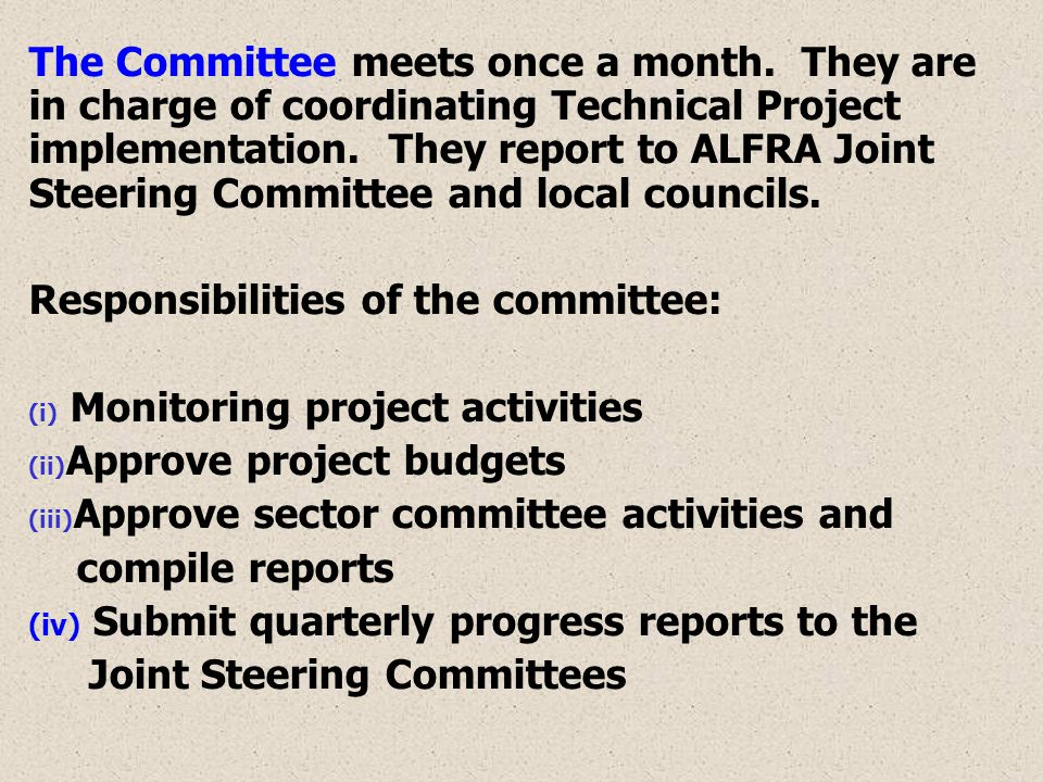 The Committee meets once a month. They are in charge of coordinating Technical Project implementation. They report to ALFRA Joint Steering Committee a
