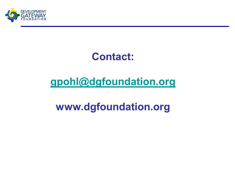 Contact: gpohl@dgfoundation.org www.dgfoundation.org gpohl@dgfoundation.org