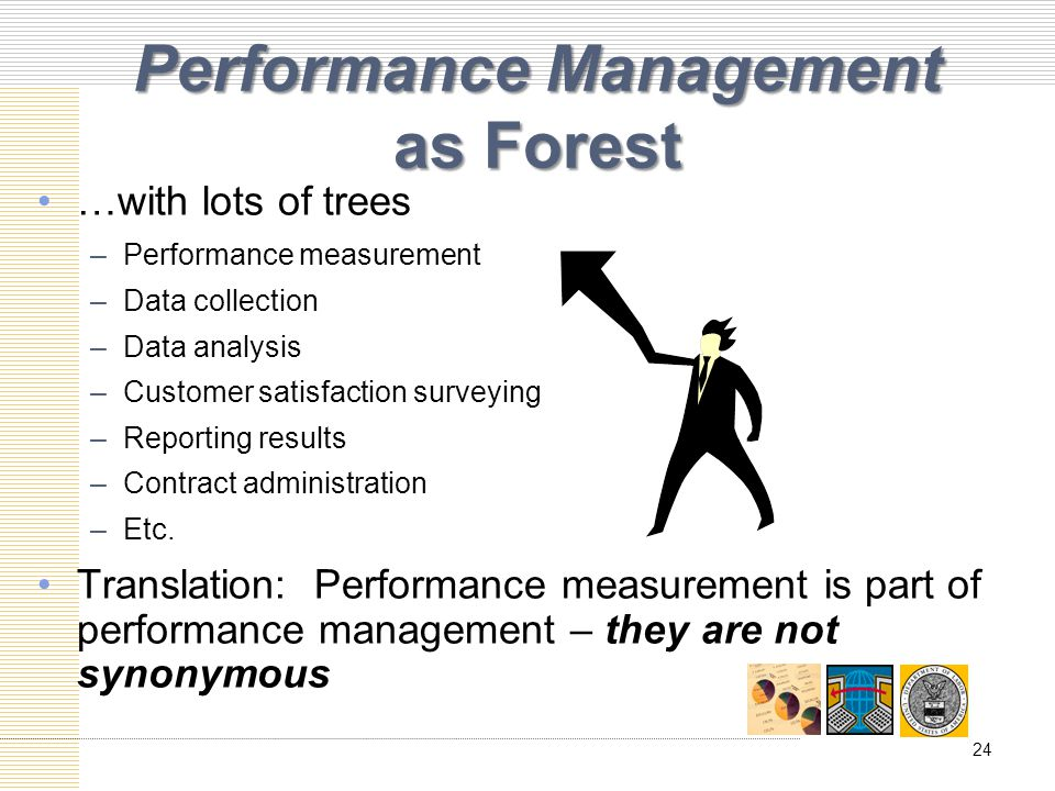 Performance Management as Forest …with lots of trees –Performance measurement –Data collection –Data analysis –Customer satisfaction surveying –Reporting results –Contract administration –Etc.
