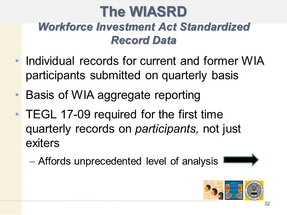 The WIASRD Workforce Investment Act Standardized Record Data Individual records for current and former WIA participants submitted on quarterly basis Basis of WIA aggregate reporting TEGL 17-09 required for the first time quarterly records on participants, not just exiters –Affords unprecedented level of analysis 32