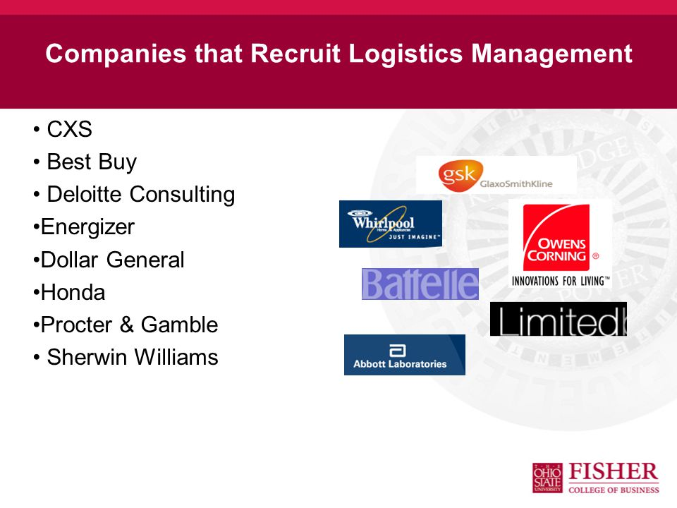 Example Logistics Management Position Logistics Analyst Works with management of sales regions, headquarters and logistics partners to coordinate spec