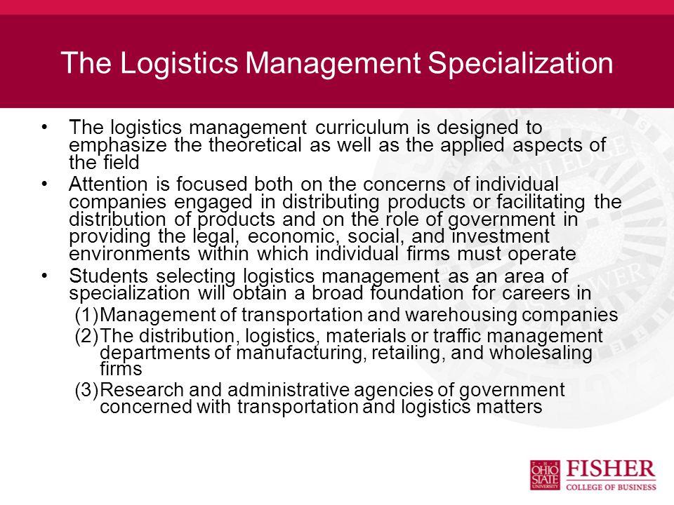 Logistics Management at Fisher Undergraduate Ranking –5th Nationally - U.S. News and World Report (2012)