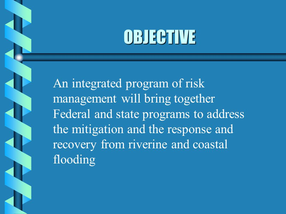 OBJECTIVE An integrated program of risk management will bring together Federal and state programs to address the mitigation and the response and recov