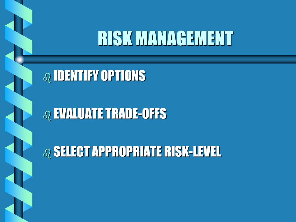 RISK MANAGEMENT b IDENTIFY OPTIONS b EVALUATE TRADE-OFFS b SELECT APPROPRIATE RISK-LEVEL
