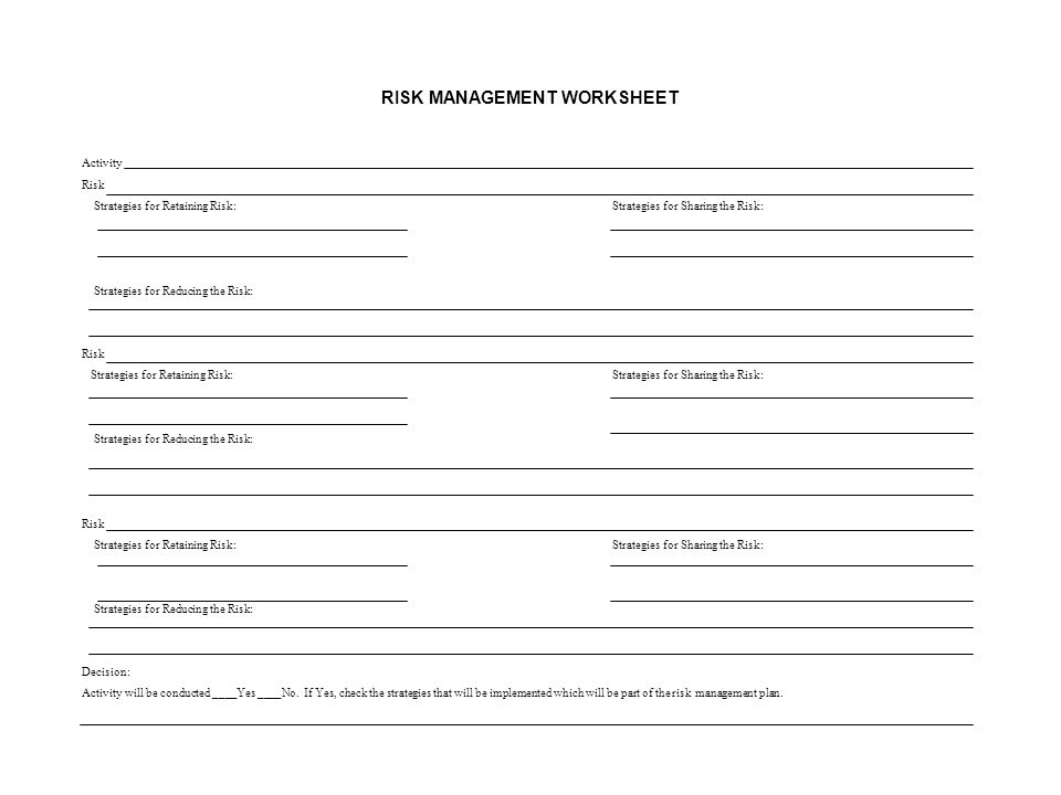 RISK MANAGEMENT WORKSHEET Activity Risk Strategies for Retaining Risk:Strategies for Sharing the Risk: Strategies for Reducing the Risk: Risk Strategies for Retaining Risk:Strategies for Sharing the Risk: Strategies for Reducing the Risk: Risk Strategies for Retaining Risk:Strategies for Sharing the Risk: Strategies for Reducing the Risk: Decision: Activity will be conducted ____Yes ____No.