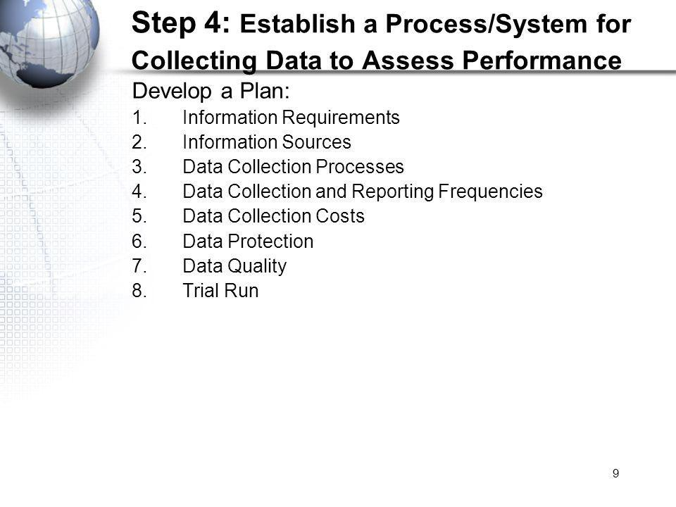 9 Step 4: Establish a Process/System for Collecting Data to Assess Performance Develop a Plan: 1.Information Requirements 2.Information Sources 3.Data Collection Processes 4.Data Collection and Reporting Frequencies 5.Data Collection Costs 6.Data Protection 7.Data Quality 8.Trial Run