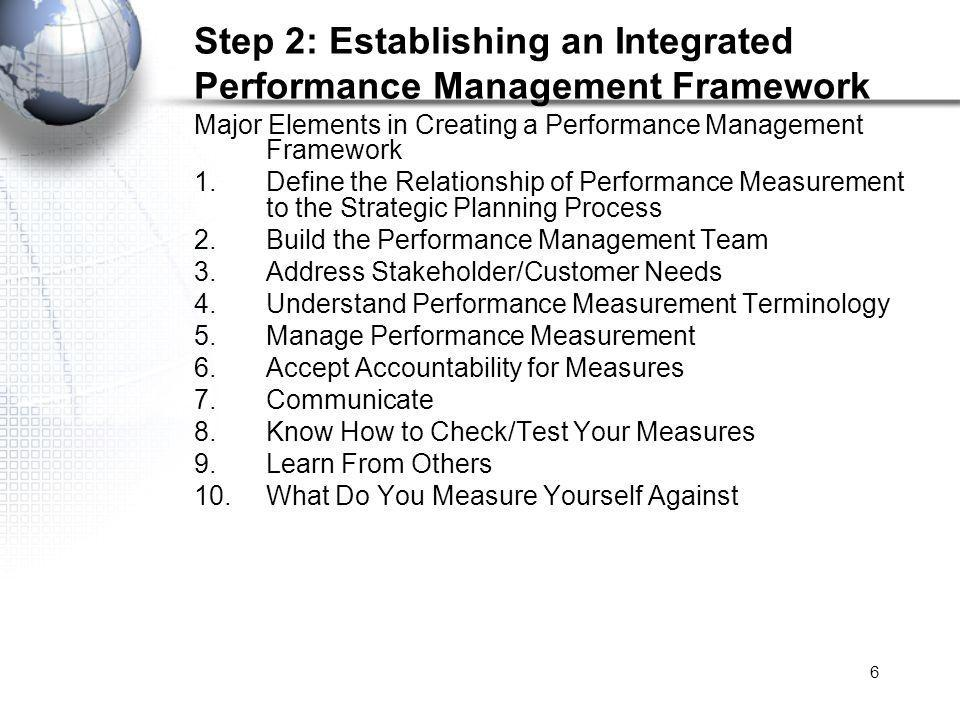 6 Step 2: Establishing an Integrated Performance Management Framework Major Elements in Creating a Performance Management Framework 1.Define the Relationship of Performance Measurement to the Strategic Planning Process 2.Build the Performance Management Team 3.Address Stakeholder/Customer Needs 4.Understand Performance Measurement Terminology 5.Manage Performance Measurement 6.Accept Accountability for Measures 7.Communicate 8.Know How to Check/Test Your Measures 9.Learn From Others 10.What Do You Measure Yourself Against