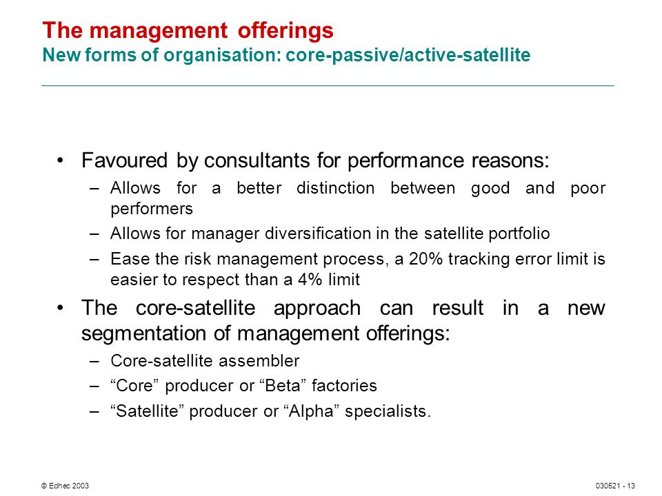 © Edhec 2003030521 - 13 The management offerings New forms of organisation: core-passive/active-satellite Favoured by consultants for performance reasons: –Allows for a better distinction between good and poor performers –Allows for manager diversification in the satellite portfolio –Ease the risk management process, a 20% tracking error limit is easier to respect than a 4% limit The core-satellite approach can result in a new segmentation of management offerings: –Core-satellite assembler –Core producer or Beta factories –Satellite producer or Alpha specialists.