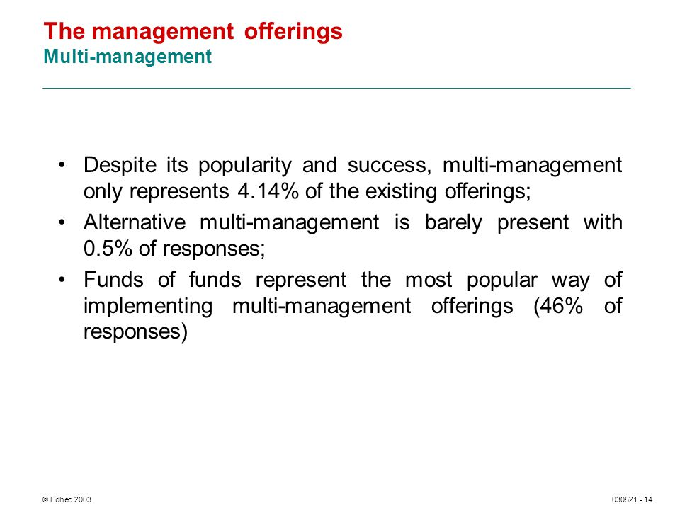 © Edhec 2003030521 - 14 The management offerings Multi-management Despite its popularity and success, multi-management only represents 4.14% of the existing offerings; Alternative multi-management is barely present with 0.5% of responses; Funds of funds represent the most popular way of implementing multi-management offerings (46% of responses)