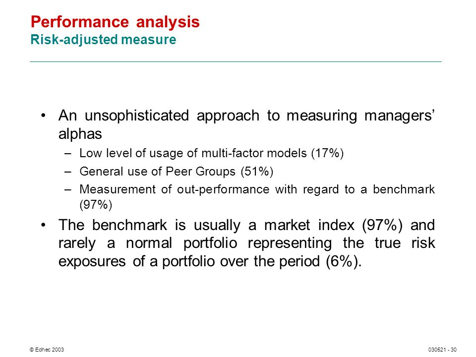 © Edhec 2003030521 - 30 Performance analysis Risk-adjusted measure An unsophisticated approach to measuring managers alphas –Low level of usage of multi-factor models (17%) –General use of Peer Groups (51%) –Measurement of out-performance with regard to a benchmark (97%) The benchmark is usually a market index (97%) and rarely a normal portfolio representing the true risk exposures of a portfolio over the period (6%).