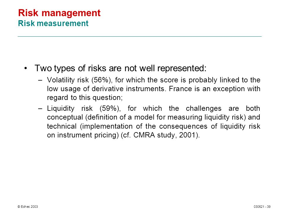 © Edhec 2003030521 - 39 Risk management Risk measurement Two types of risks are not well represented: –Volatility risk (56%), for which the score is p
