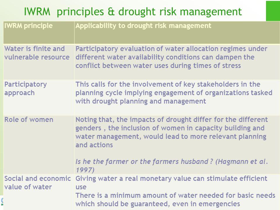 22 IWRM principles & drought risk management IWRM principleApplicability to drought risk management Water is finite and vulnerable resource Participat