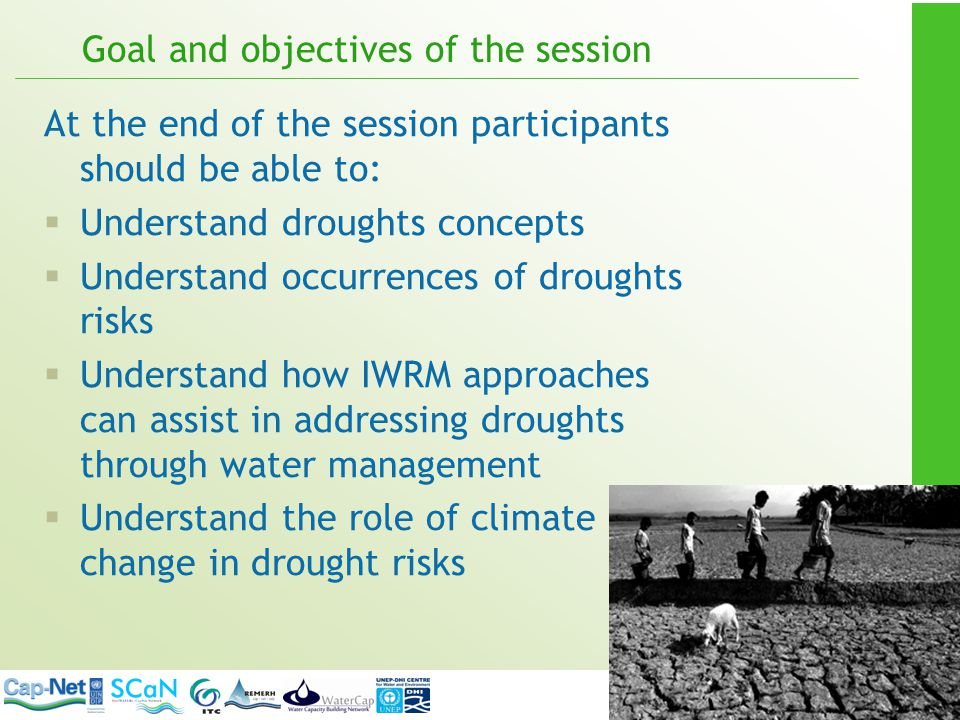 WRM functions and DRM Stakeholder participation Water Allocation Pollution Control Information Management Financial Management Flood & Drought Management Basin Planning Monitoring Drought risk assessment ; early warning systems More water, less water .