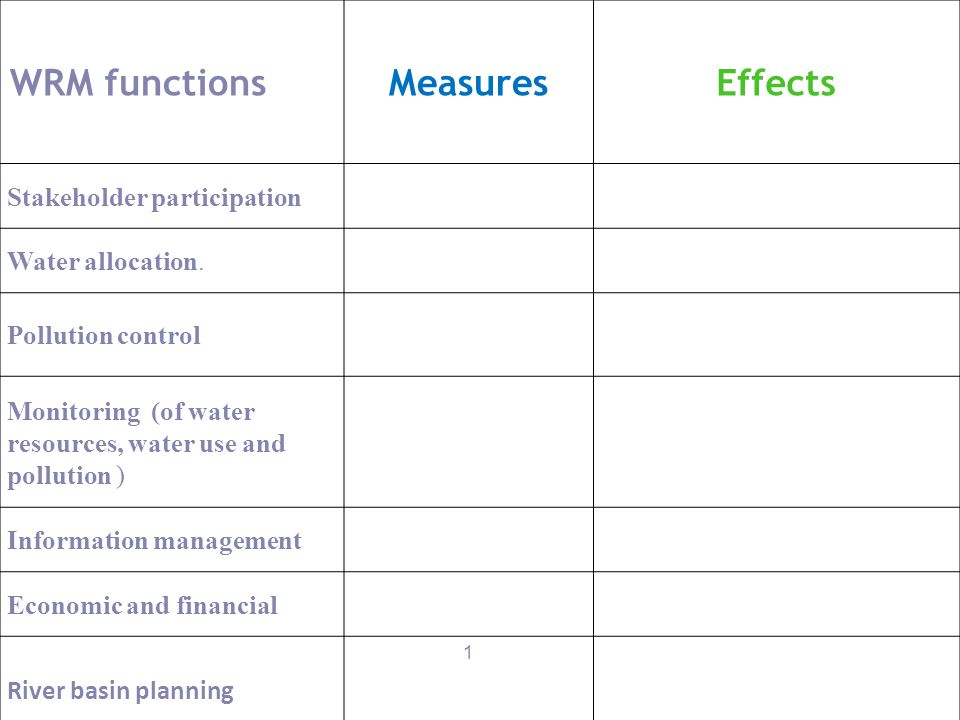 30 WRM functionsMeasuresEffects Stakeholder participation Water allocation. Pollution control Monitoring (of water resources, water use and pollution