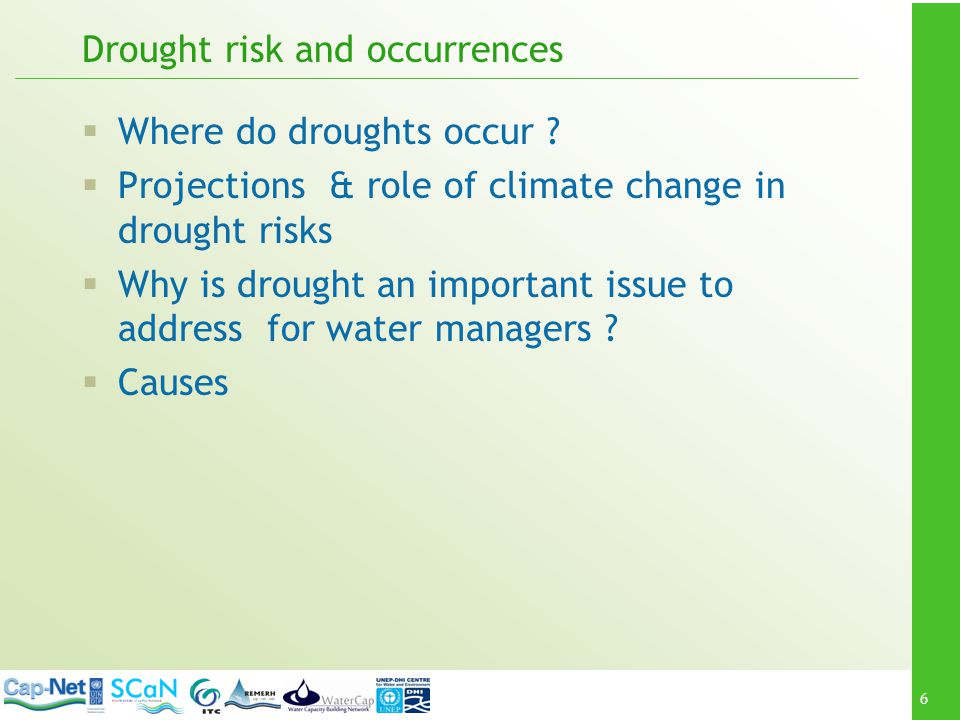 27 Exercise Water resources management functions; activities; and anticipated effect on drought risk
