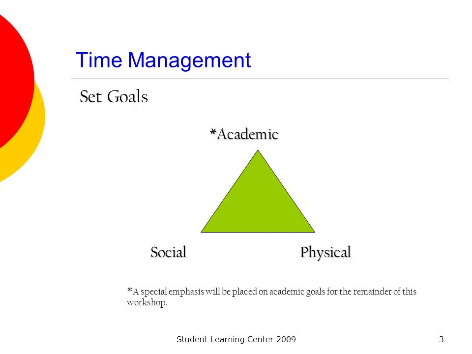 Student Learning Center 20093 Time Management *Academic PhysicalSocial * A special emphasis will be placed on academic goals for the remainder of this