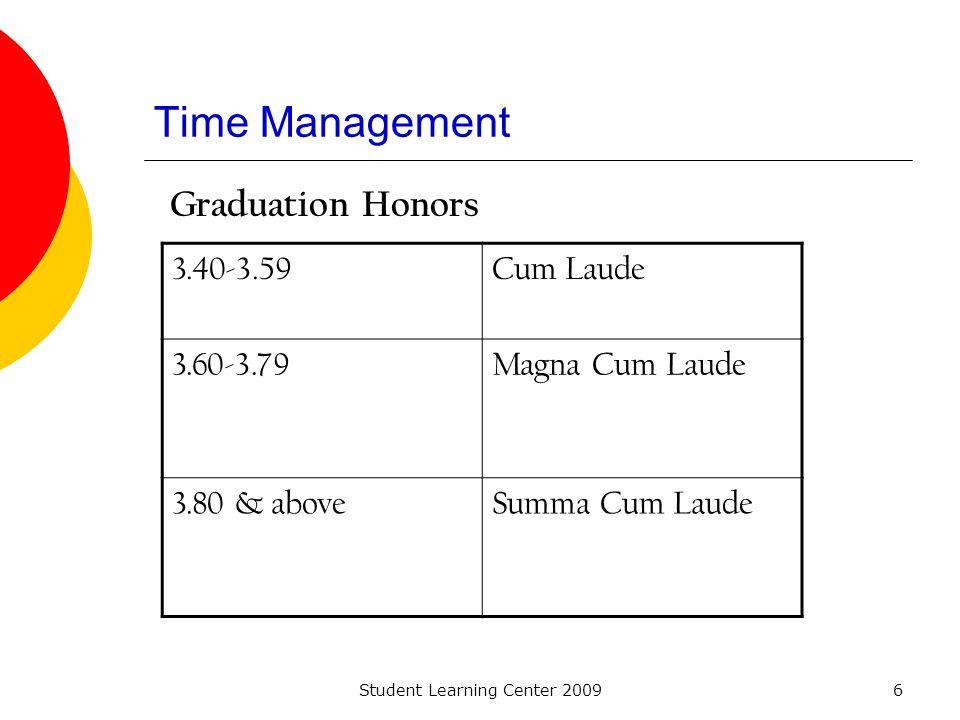 Student Learning Center 20096 Time Management Graduation Honors 3.40-3.59Cum Laude 3.60-3.79Magna Cum Laude 3.80 & aboveSumma Cum Laude