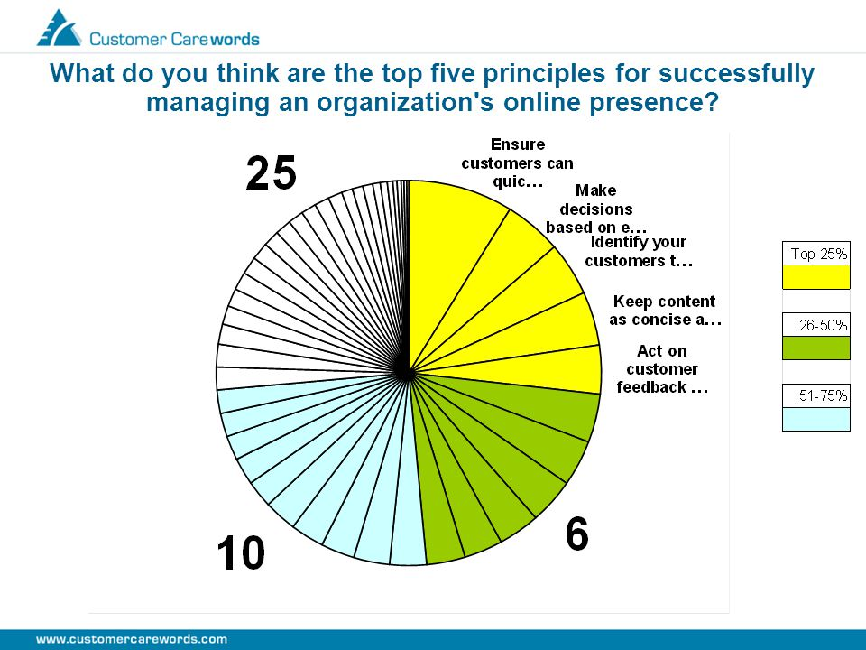 What do you think are the top five principles for successfully managing an organization s online presence