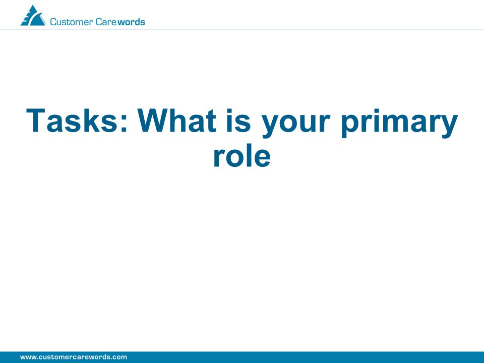 Tasks: What is your primary role