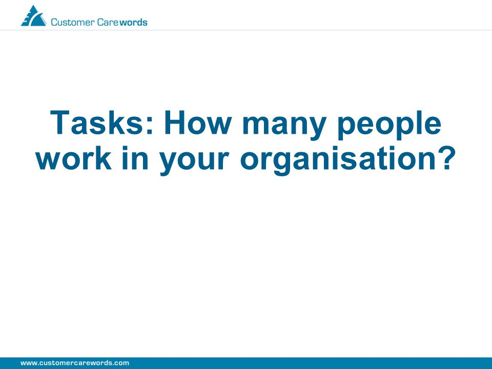 Tasks: How many people work in your organisation?