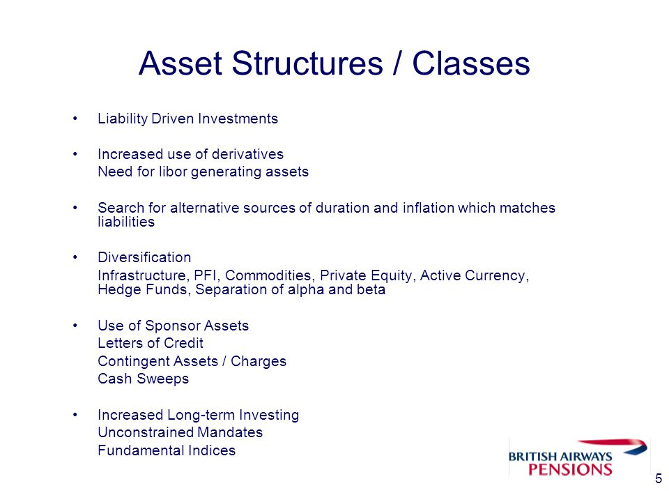 5 Asset Structures / Classes Liability Driven Investments Increased use of derivatives Need for libor generating assets Search for alternative sources of duration and inflation which matches liabilities Diversification Infrastructure, PFI, Commodities, Private Equity, Active Currency, Hedge Funds, Separation of alpha and beta Use of Sponsor Assets Letters of Credit Contingent Assets / Charges Cash Sweeps Increased Long-term Investing Unconstrained Mandates Fundamental Indices
