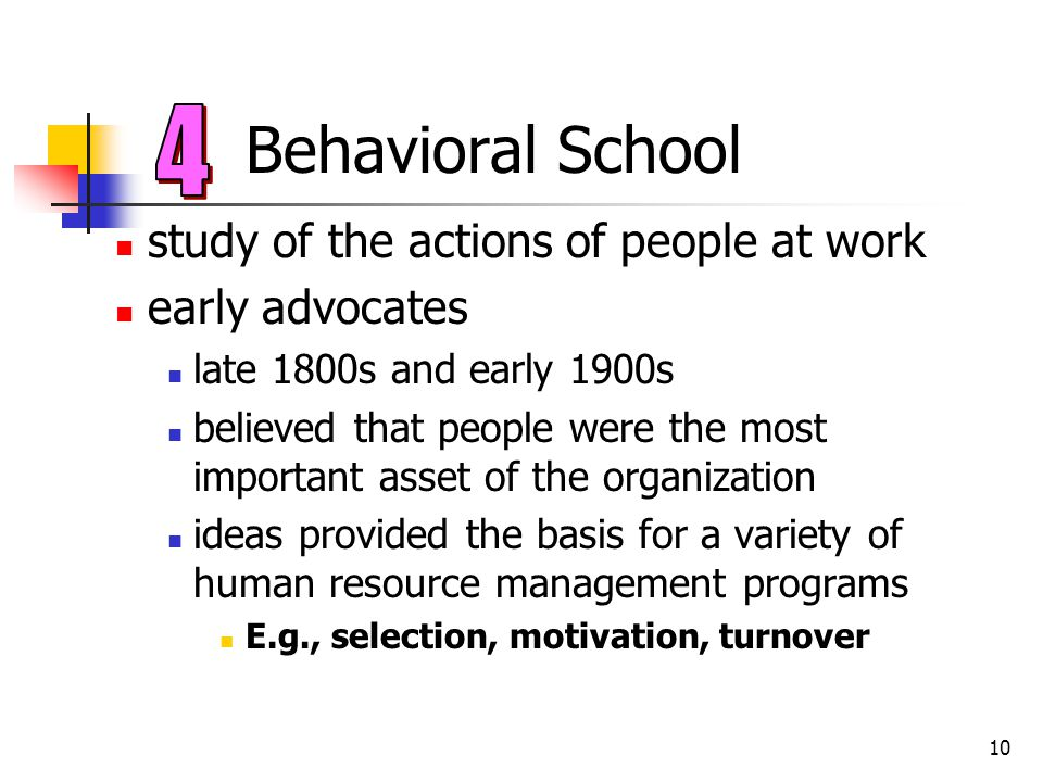 10 Behavioral School study of the actions of people at work early advocates late 1800s and early 1900s believed that people were the most important as