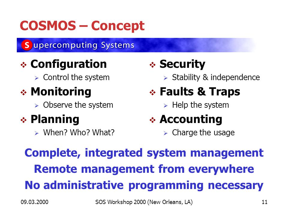 09.03.2000SOS Workshop 2000 (New Orleans, LA)11 COSMOS – Concept Configuration Control the system Monitoring Observe the system Planning When.