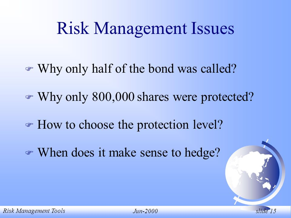 Risk Management Tools Jun-2000 slide 15 Risk Management Issues F Why only half of the bond was called.