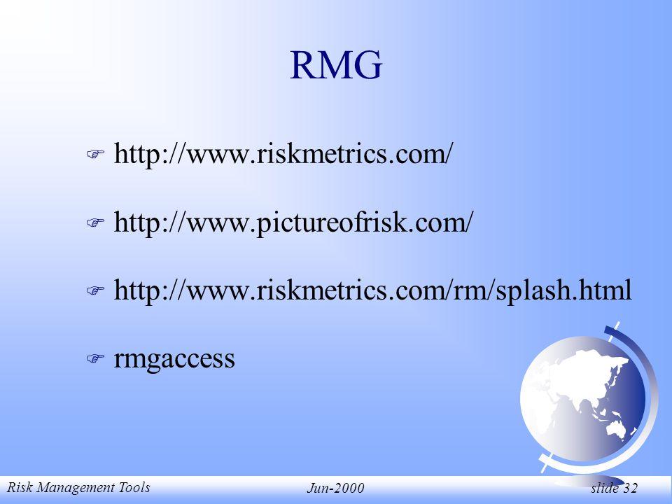Risk Management Tools Jun-2000 slide 32 RMG F http://www.riskmetrics.com/ F http://www.pictureofrisk.com/ F http://www.riskmetrics.com/rm/splash.html F rmgaccess
