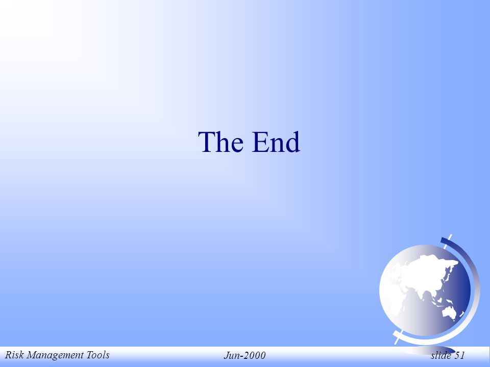 Risk Management Tools Jun-2000 slide 51 The End