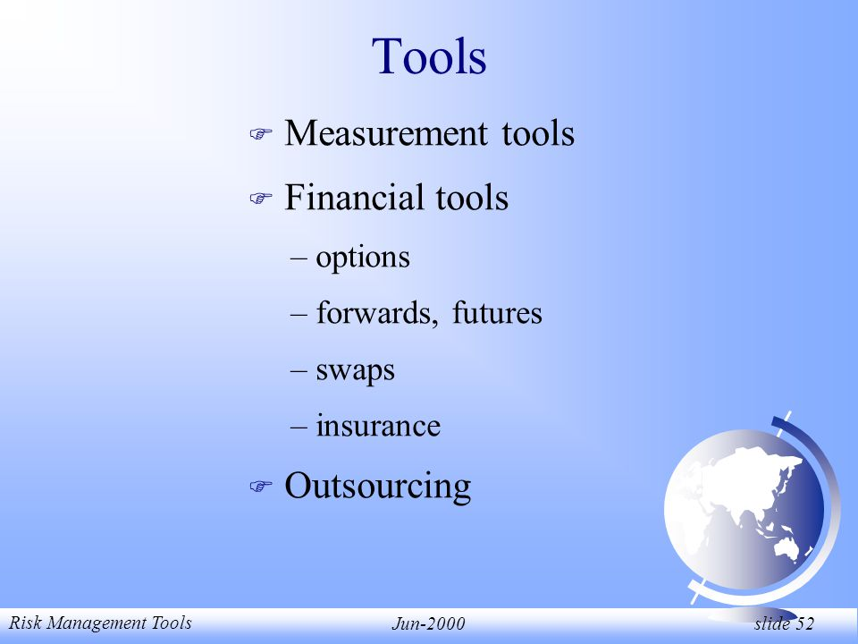 Risk Management Tools Jun-2000 slide 52 Tools F Measurement tools F Financial tools – options – forwards, futures – swaps – insurance F Outsourcing