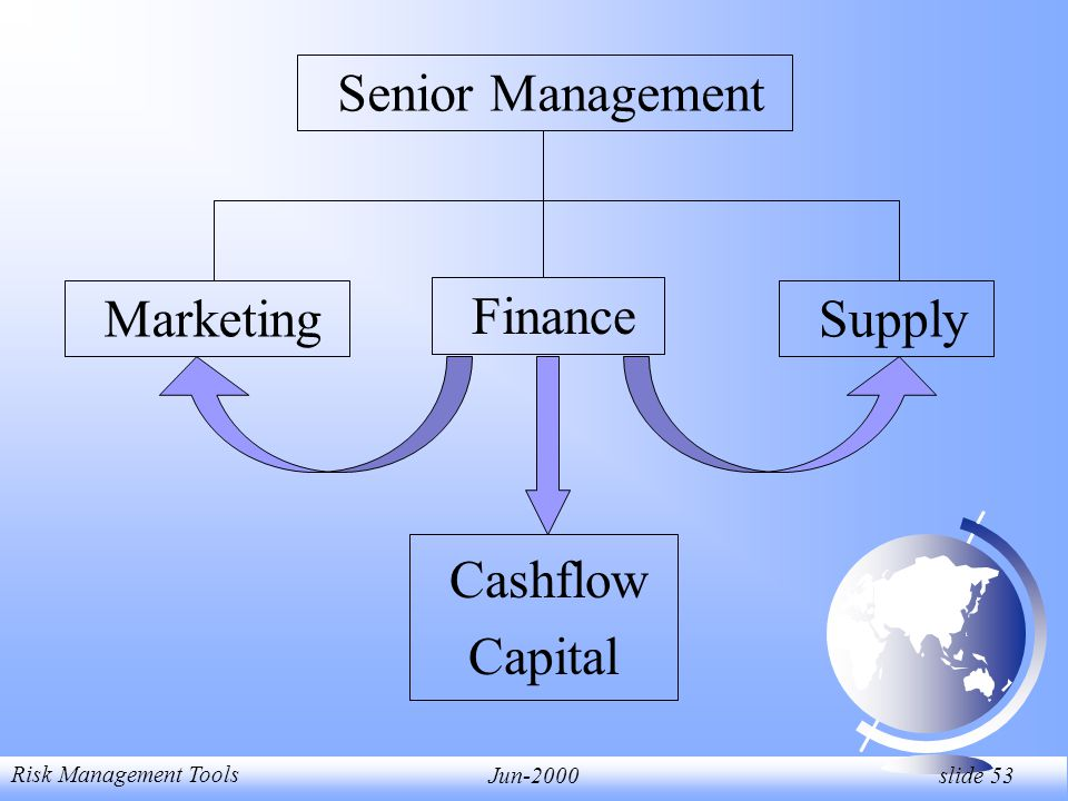 Risk Management Tools Jun-2000 slide 53 Senior Management Marketing Finance Supply Cashflow Capital