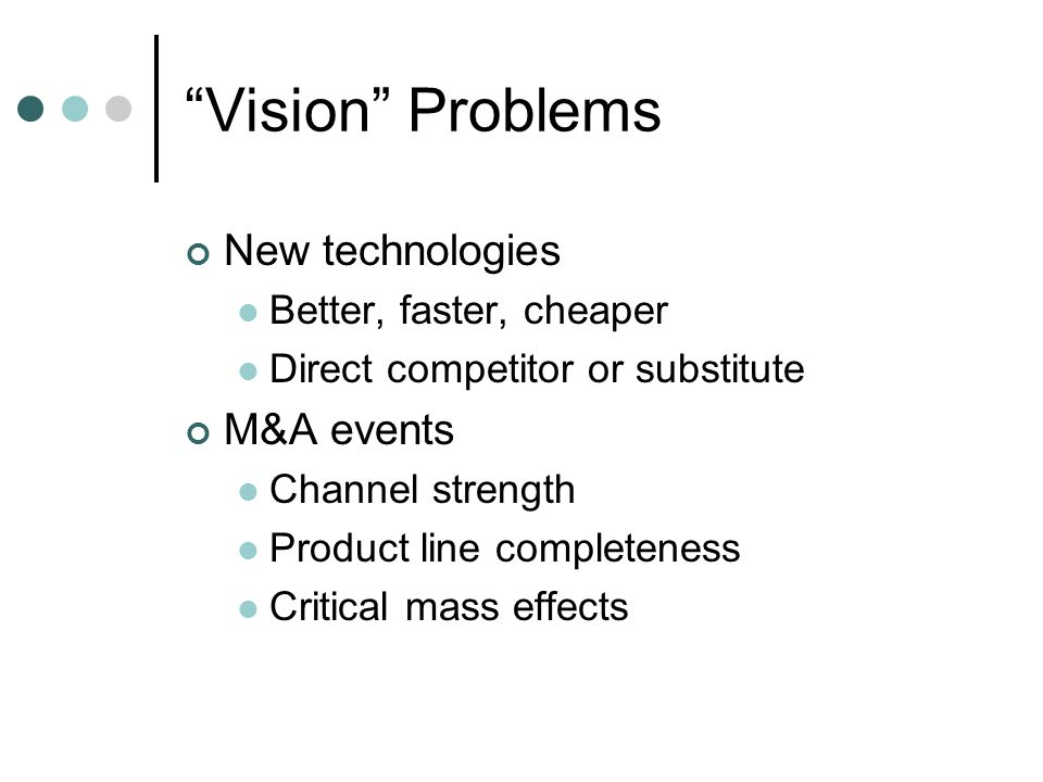 Vision Problems New technologies Better, faster, cheaper Direct competitor or substitute M&A events Channel strength Product line completeness Critical mass effects