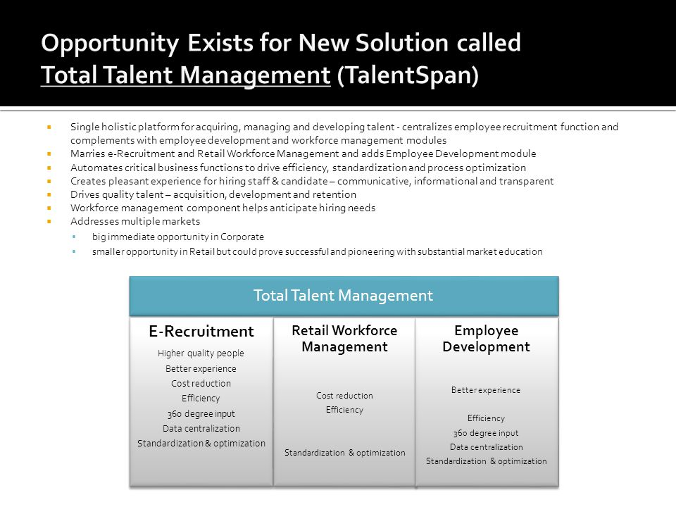 Single holistic platform for acquiring, managing and developing talent - centralizes employee recruitment function and complements with employee devel