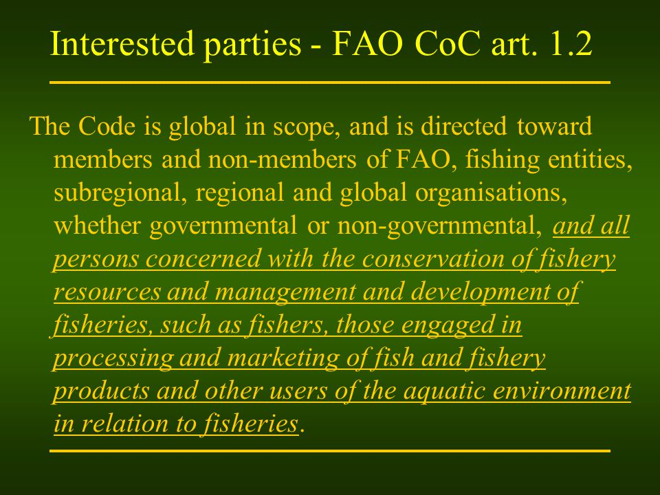 Interested parties - FAO CoC art.