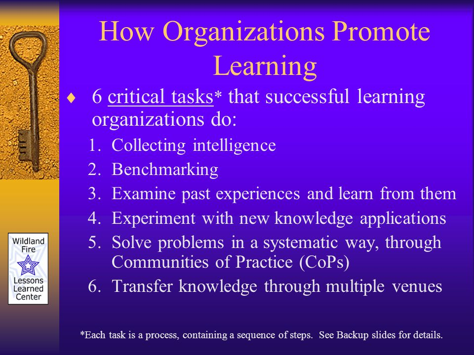 How Organizations Promote Learning 6 critical tasks * that successful learning organizations do: 1.Collecting intelligence 2.Benchmarking 3.Examine past experiences and learn from them 4.Experiment with new knowledge applications 5.Solve problems in a systematic way, through Communities of Practice (CoPs) 6.Transfer knowledge through multiple venues *Each task is a process, containing a sequence of steps.