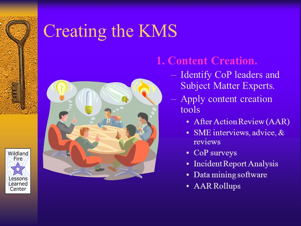 Creating the KMS 1. Content Creation. –Identify CoP leaders and Subject Matter Experts.