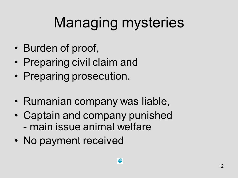 12 Managing mysteries Burden of proof, Preparing civil claim and Preparing prosecution.
