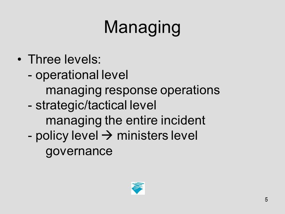 5 Managing Three levels: - operational level managing response operations - strategic/tactical level managing the entire incident - policy level ministers level governance