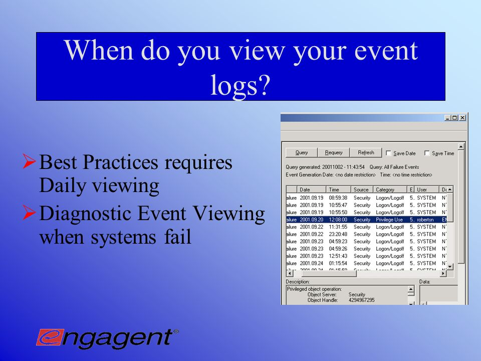 Event Log View Consolidated Event Log Viewing
