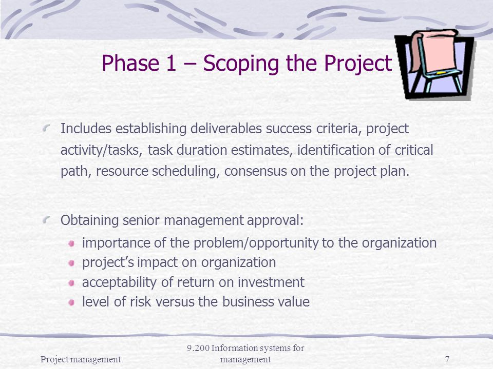 Project management 9.200 Information systems for management6 Five Phases in Project Management 1.