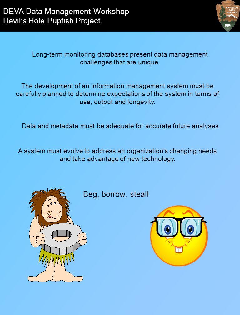 DEVA Data Management Workshop Devils Hole Pupfish Project All information available @: http://www1.nature.nps.gov/im/units/MOJN/meetings/DEVA_DM_Workshop.cfm