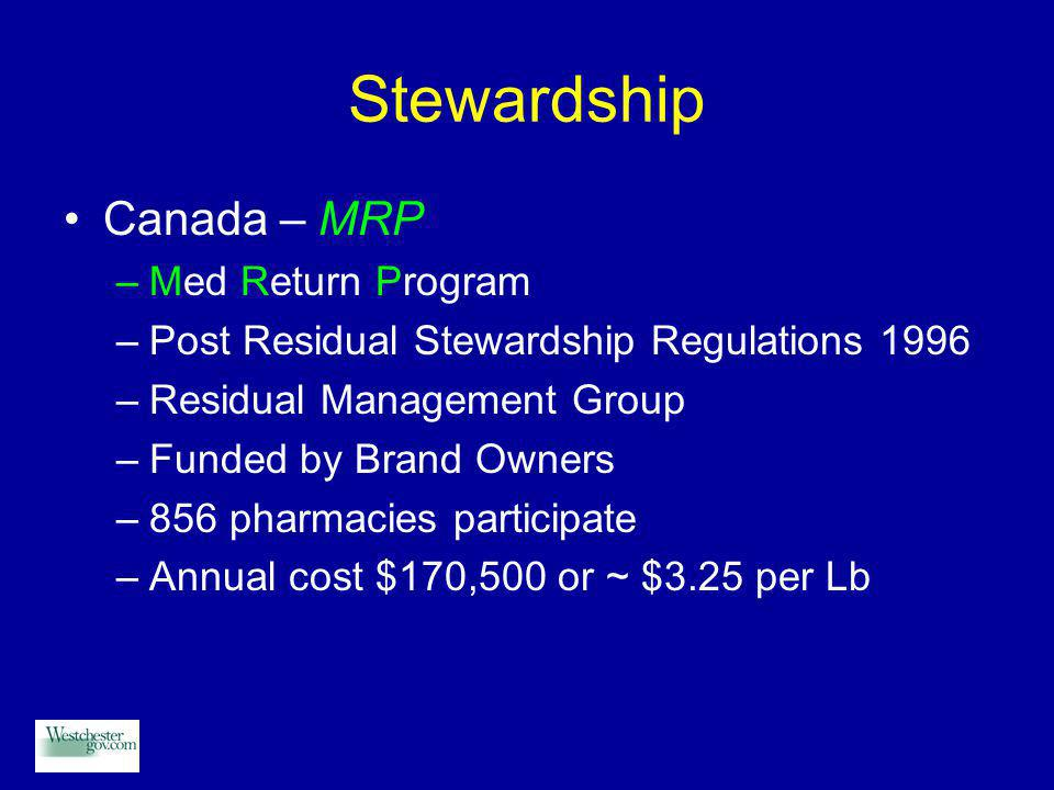 Stewardship Canada – MRP –Med Return Program –Post Residual Stewardship Regulations 1996 –Residual Management Group –Funded by Brand Owners –856 pharmacies participate –Annual cost $170,500 or ~ $3.25 per Lb