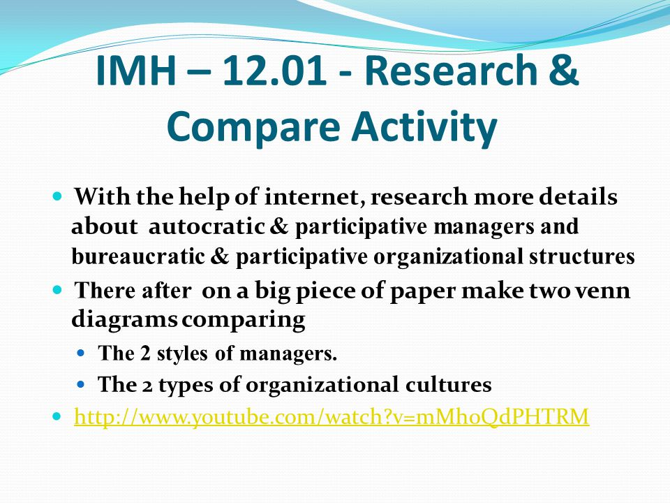 IMH – 12.01 - Research & Compare Activity With the help of internet, research more details about autocratic & participative managers and bureaucratic