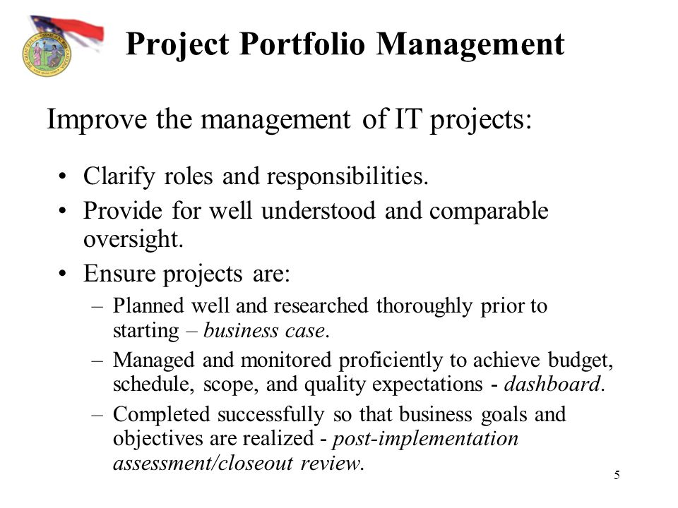 5 Project Portfolio Management Clarify roles and responsibilities.