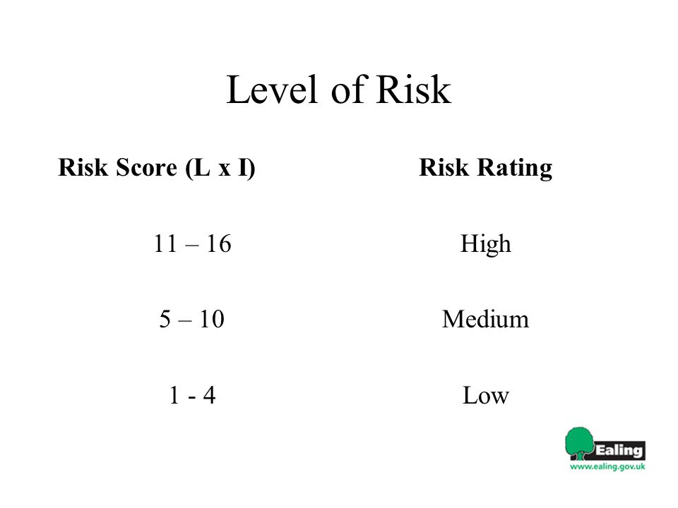 Level of Risk Risk Score (L x I) 11 – 16 5 – 10 1 - 4 Risk Rating High Medium Low