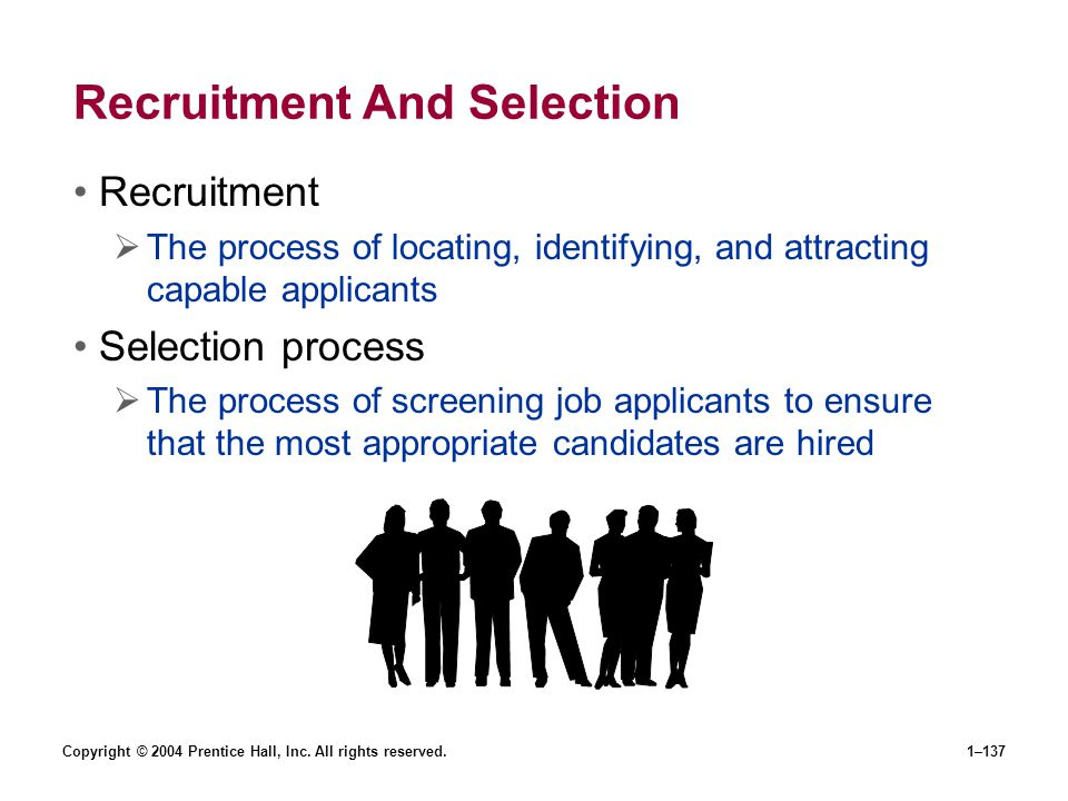 Copyright © 2004 Prentice Hall, Inc. All rights reserved.1–137 Recruitment And Selection Recruitment The process of locating, identifying, and attract